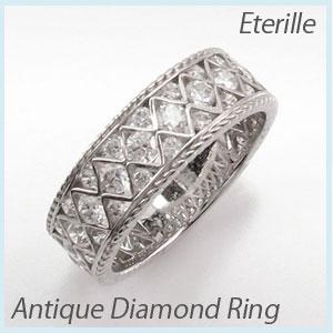 リング プラチナ ダイヤモンド 指輪 レディース アンティーク 透かし レース 縄 なわ ゴージャス プラチナ