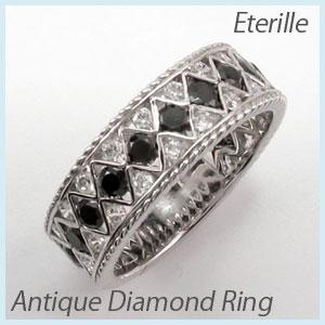 ブラックダイヤモンド リング 指輪 レディース アンティーク 透かし レース 縄 なわ ゴージャス k18 18k 18金 ゴールド