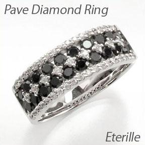 ブラックダイヤモンド リング 指輪 レディース パヴェ ゴージャス プラチナ