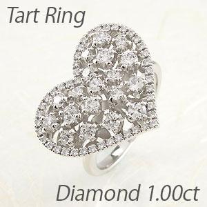 リング プラチナ ダイヤモンド 指輪 レディース ハート アンティーク ゴージャス 透かし 重ね 2段 プラチナ 1.0カラット
