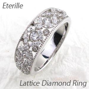 リング プラチナ ダイヤモンド 指輪 レディース アンティーク ミル打ち 透かし 格子 ラティス 2段 重ね プラチナ