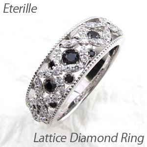 ブラックダイヤモンド リング 指輪 レディース アンティーク ミル打ち 透かし 格子 ラティス 2段 重ね プラチナ
