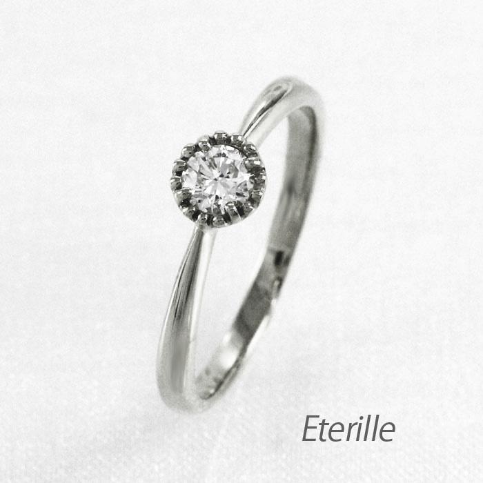 ダイヤモンド リング 指輪 レディース 4月 一粒石 ミル アンティーク k18 18k 18金 ゴールド
