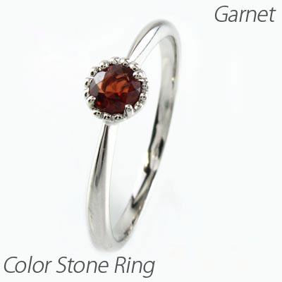 ガーネット リング 指輪 レディース ガーネット 1月 誕生石 一粒 カラーストーン ミル打ち アンティーク k18 18k 18金 ゴールド