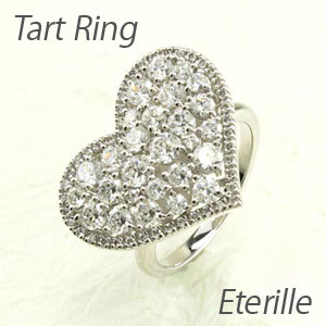 ダイヤモンド パヴェ リング 指輪 レディース ハート アンティーク ゴージャス 透かし 2段 重ね k18 18k 18金 ゴールド