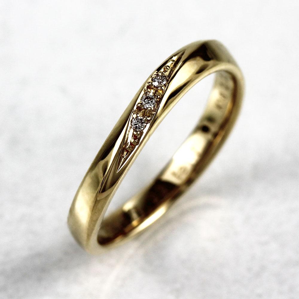 リング ダイヤモンド 指輪 レディース カーブ ウェーブ k18 18k 18金 ゴールド マリッジリング ダイヤモンド 指輪 結婚指輪