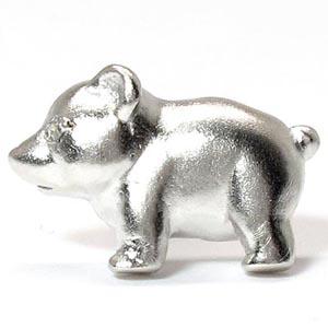 ラペルピン メンズ ダイヤモンド くま クマ 熊 アニマル 地金 プラチナ pt900