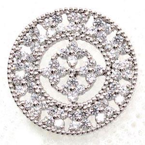 ラペルピン メンズ ダイヤモンド サークル アンティーク ミル打ち 地金 シルバー 925 SV925