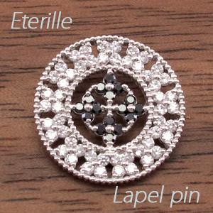 ブラックダイヤモンド ラペルピン メンズ サークル アンティーク ミル打ち 地金 ゴールド 18k k18 18金