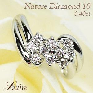 プラチナ900 【送料無料】ダイヤモンド10 フラワー ダイヤリング 天然ダイヤモンド 誕生日 結婚記念 プレゼント 彼女 指輪