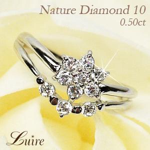 プラチナ900 【送料無料】スイート10 フラワー ダイヤリング 天然ダイヤモンド ギフト 誕生日 結婚記念 プレゼント 彼女 指輪