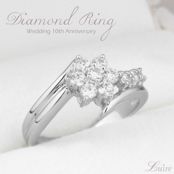 リング レディース ダイヤモンドリング ダイヤモンド 結婚 10周年 リング 0.50ct PT900 天然ダイヤモンド 誕生日 記念日 指輪 プレゼント ギフト 結婚記念