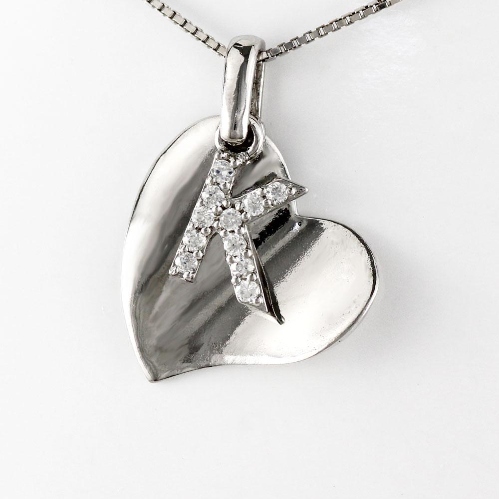 ハート ネックレス ダイヤ ペンダント レディース ダイヤモンド 地金 ネーム イニシャル アルファベット ブラ 揺れる ゴールド k10 10k 10金