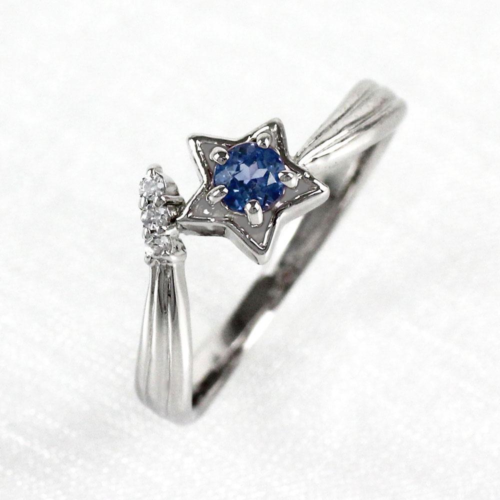 サファイア リング カラーストーン 指輪 誕生石 ダイヤ ダイヤモンド レディース 一粒 スター 星 ゴールド k18 18k 18金