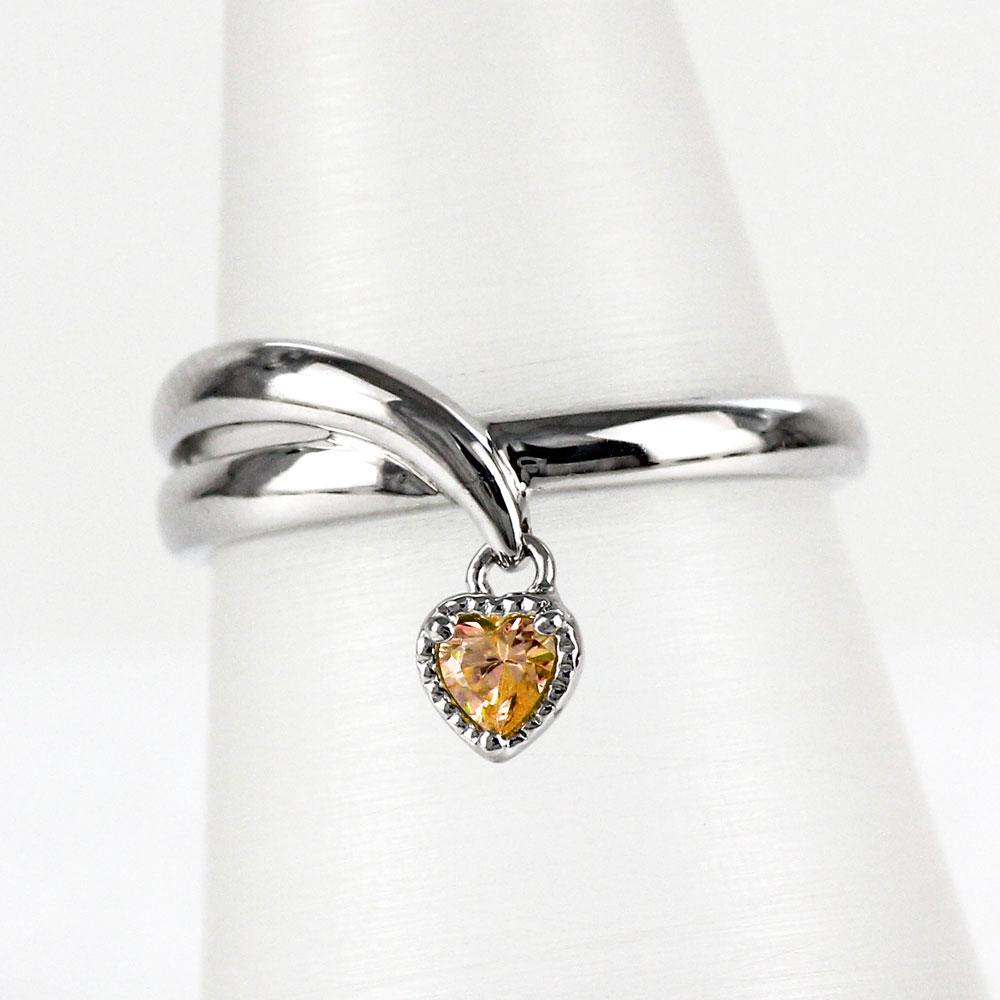 シトリン リング カラーストーン ハートシェイプ ハート ミル 揺れる 指輪 誕生石 レディース 一粒 プラチナ 900 pt900