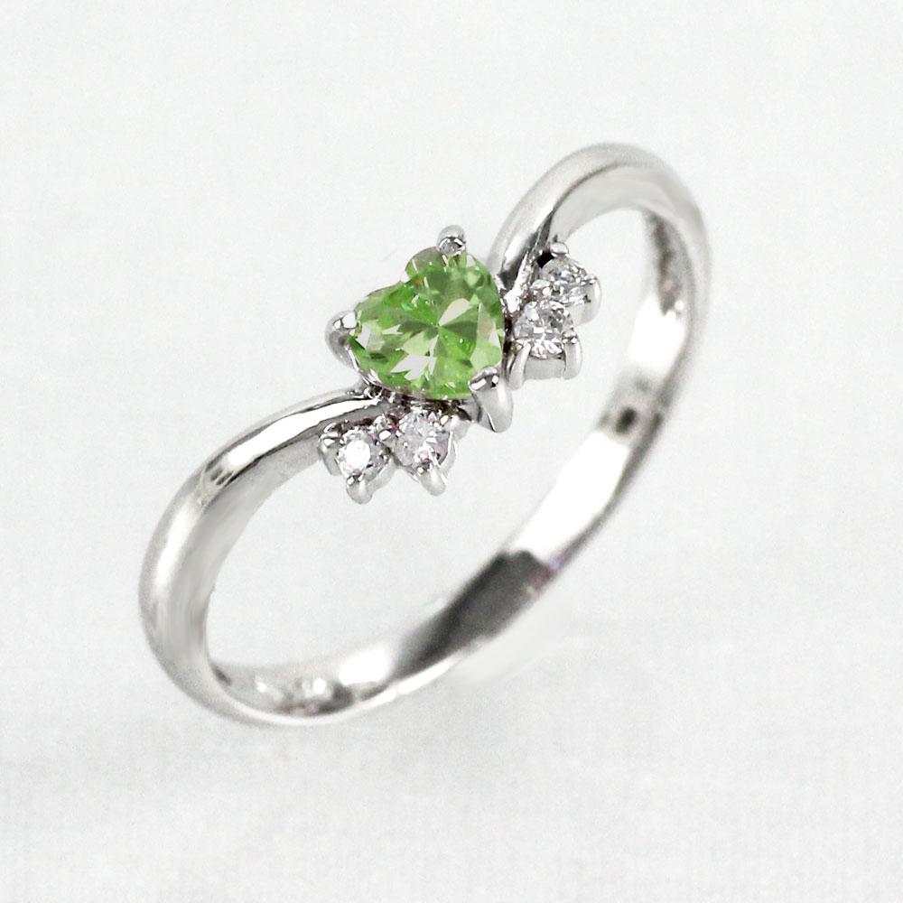 ペリドット リング カラーストーン ハートシェイプ ハート ダイヤモンド 指輪 誕生石 レディース 一粒 ゴールド k18 18k 18金