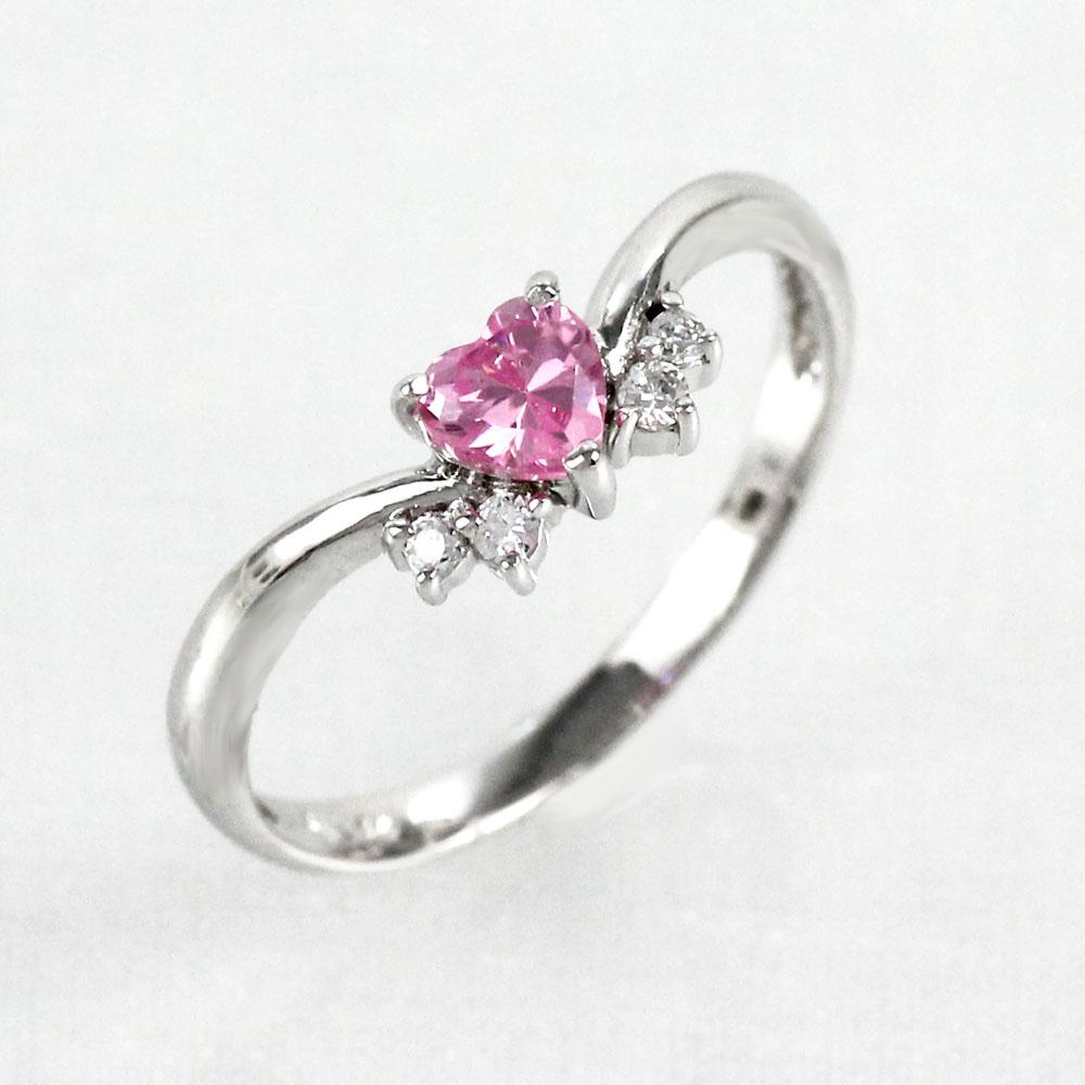 ピンクサファイア リング カラーストーン ハートシェイプ ハート ダイヤモンド 指輪 誕生石 レディース 一粒 ゴールド k10 10k 10金
