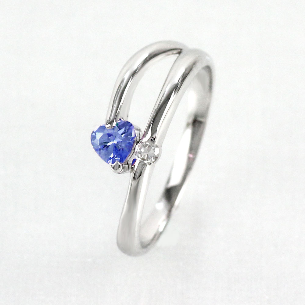 サファイア リング カラーストーン ハートシェイプ ハート ダイヤモンド 指輪 誕生石 レディース 一粒 プラチナ 900 pt900