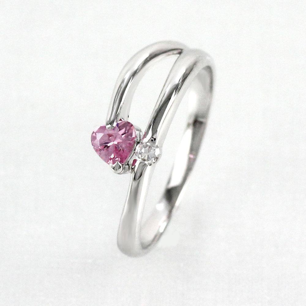 ピンクトルマリン リング カラーストーン ハートシェイプ ハート ダイヤモンド 指輪 誕生石 レディース 一粒 ゴールド k18 18k 18金