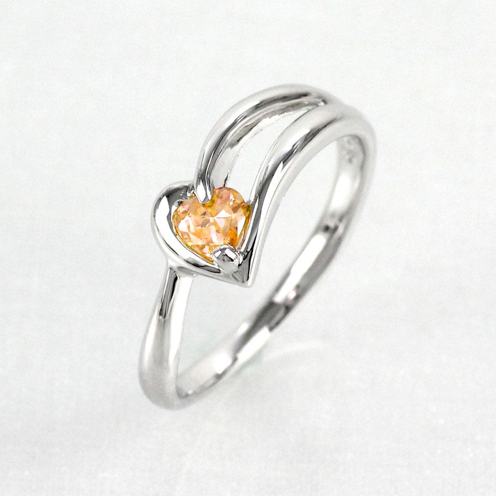 シトリン リング カラーストーン ハートシェイプ ハート 指輪 誕生石 レディース 一粒 プラチナ 900 pt900