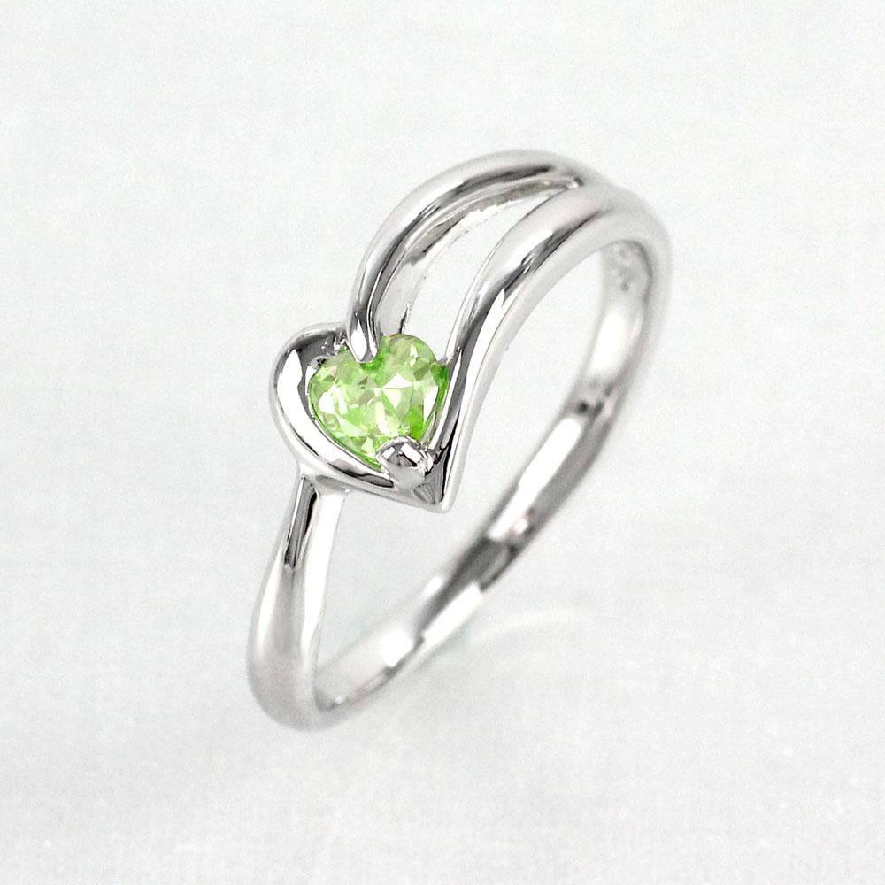 ペリドット リング カラーストーン ハートシェイプ ハート 指輪 誕生石 レディース 一粒 プラチナ 900 pt900