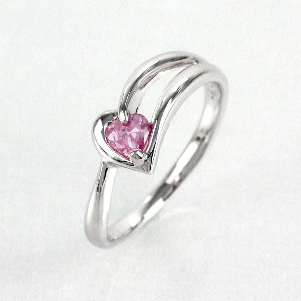 ピンクサファイア リング カラーストーン ハートシェイプ ハート 指輪 誕生石 レディース 一粒 プラチナ 900 pt900