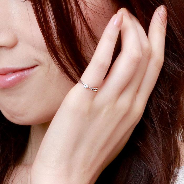 ダイヤ リング 一粒 ダイヤモンド 指輪 レディース シンプル カーブ ゴールド k10 10k 10金KcF31TlJ