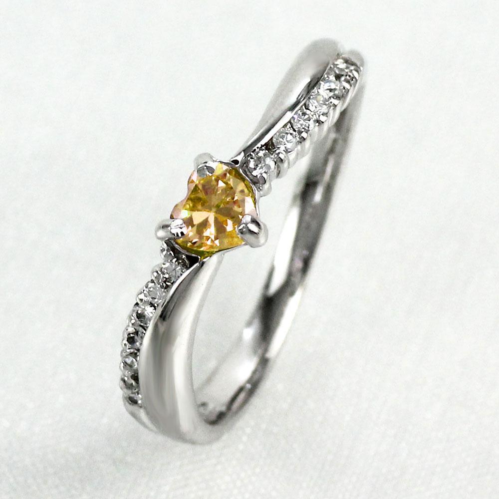 リング シトリン ダイヤモンド ハート カラーストーン ハートシェイプ プラチナ 900 指輪 誕生石 レディース 一粒 pt900