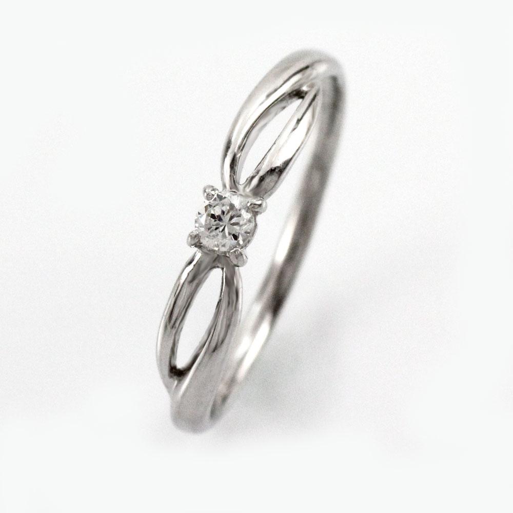 ダイヤ リング 一粒 ダイヤモンド 指輪 レディース シンプル 華奢 カーブ ゴールド k18 18k 18金