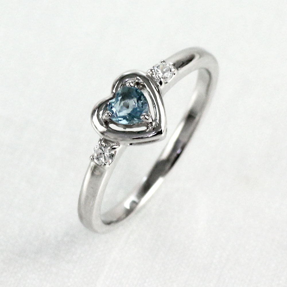 リング アクアマリン ダイヤモンド ハート カラーストーン ハートシェイプ 指輪 誕生石 レディース 一粒 ゴールド k10 10k 10金