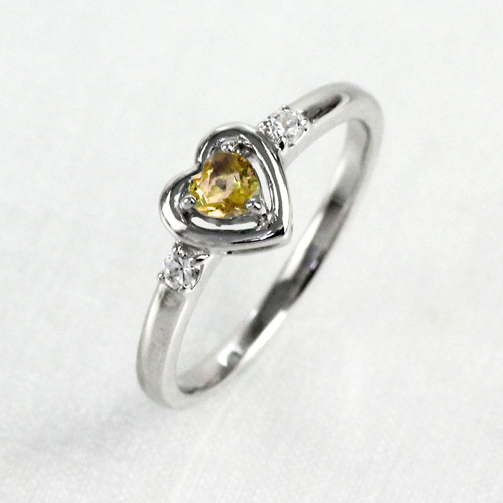 リング シトリン ダイヤモンド ハート プラチナ カラーストーン ハートシェイプ 指輪 誕生石 レディース 一粒 pt900