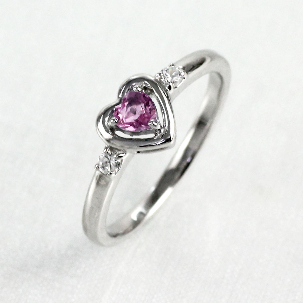 リング ピンクサファイア ダイヤモンド ハート カラーストーン ハートシェイプ 指輪 誕生石 レディース 一粒 ゴールド k18 18k 18金