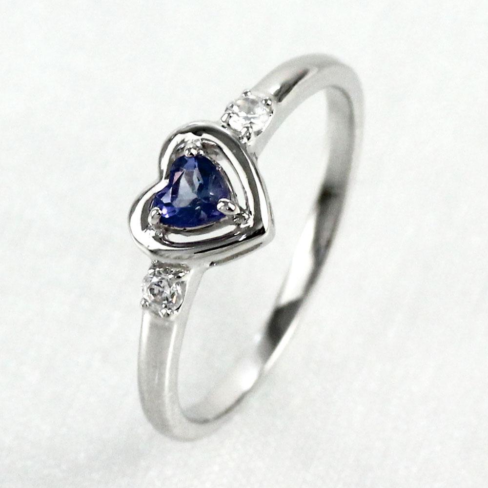 リング タンザナイト ダイヤモンド ハート プラチナ カラーストーン ハートシェイプ 指輪 誕生石 レディース 一粒 pt900
