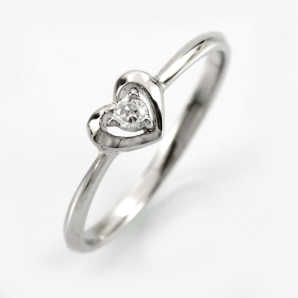 ダイヤ リング 一粒 ダイヤモンド 指輪 レディース ハート シンプル ゴールド k18 18k 18金