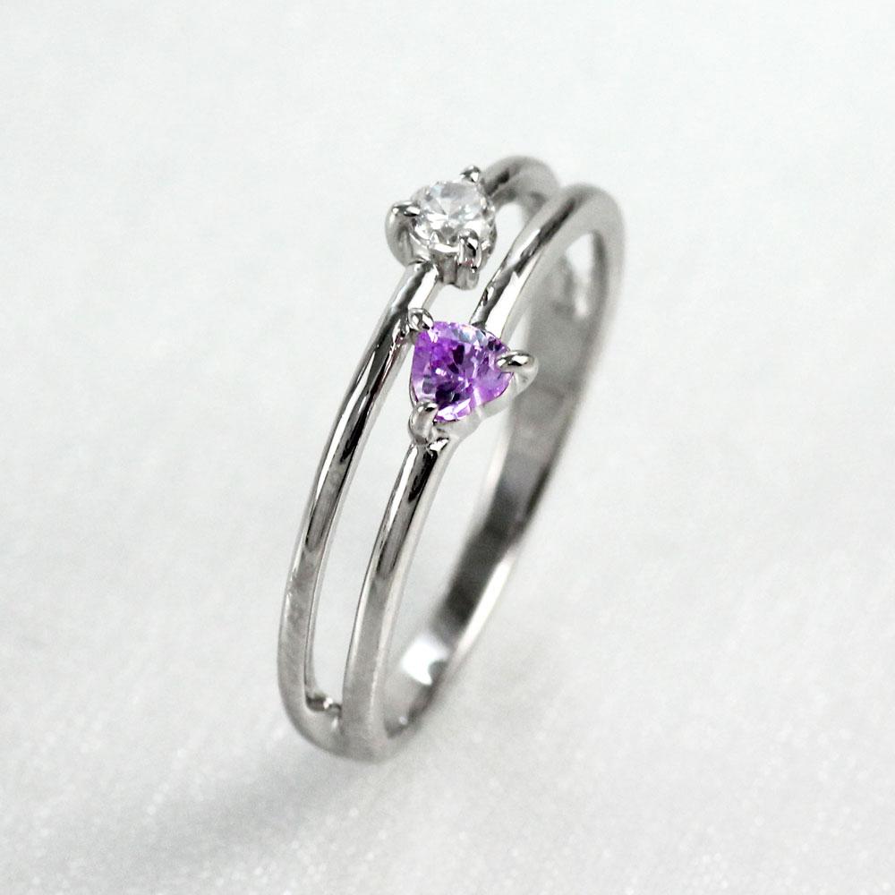 ハート リング アメジスト ダイヤモンド カラーストーン プラチナ ハートシェイプ 指輪 誕生石 レディース 一粒 pt900