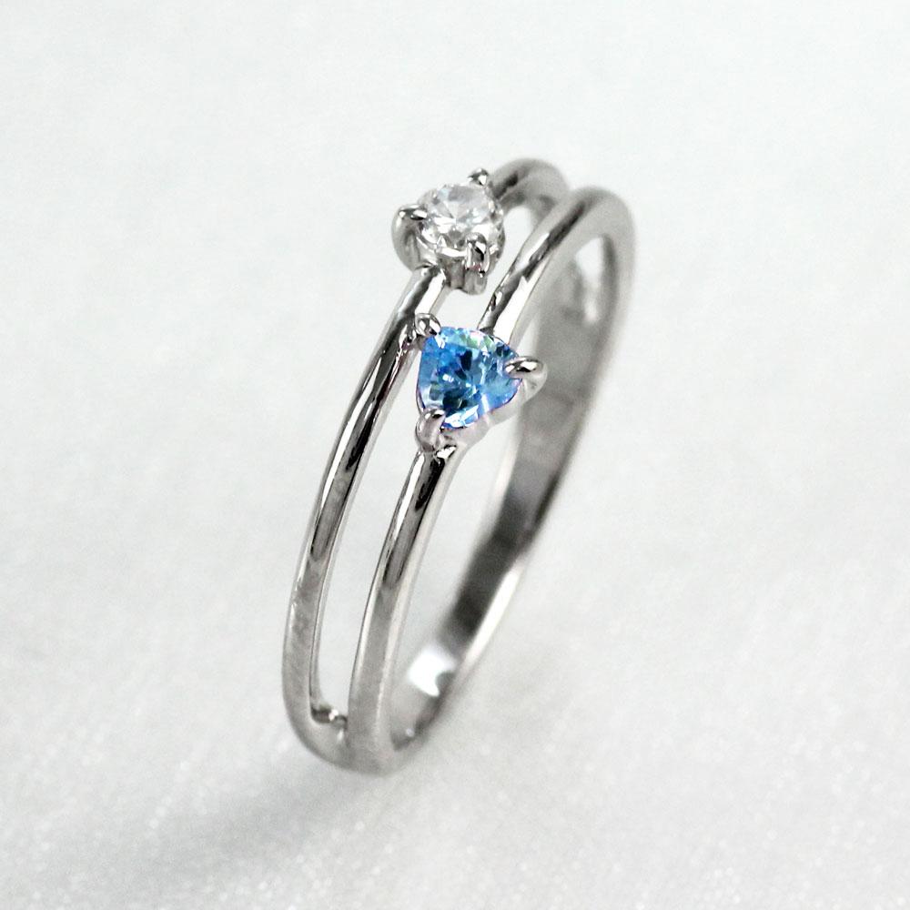 ハート リング アクアマリン ダイヤモンド カラーストーン ハートシェイプ 指輪 誕生石 レディース 一粒 ゴールド k18 18k 18金