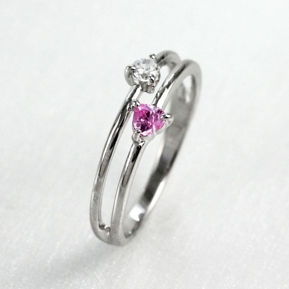 ハート リング ピンクサファイア ダイヤモンド カラーストーン プラチナ ハートシェイプ 指輪 誕生石 レディース 一粒 pt900