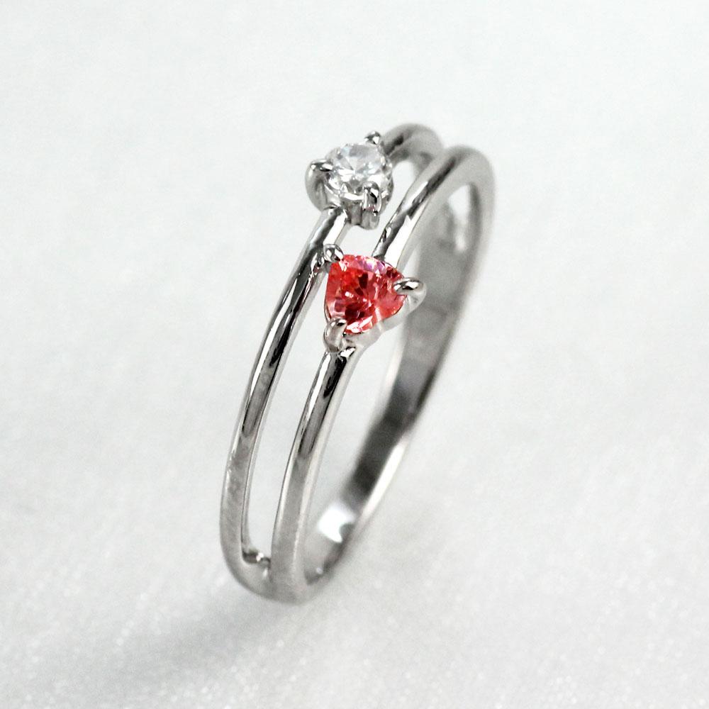 ハート リング ルビー ダイヤモンド カラーストーン ハートシェイプ 指輪 誕生石 レディース 一粒 ゴールド k18 18k 18金