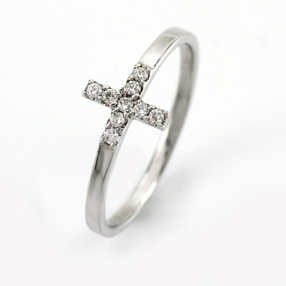 ダイヤ リング ダイヤモンド 指輪 レディース クロス 十字架 シンプル 華奢 プラチナ pt900