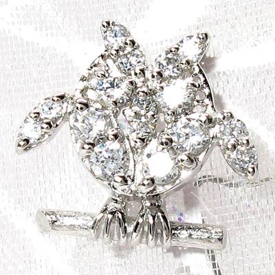 シルバー 【送料無料】メンズタイニーピン ふくろう SV925天然ダイヤモンド 自分ご褒美 記念日 襟元ピン
