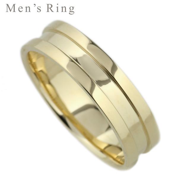 平打ちタイプのシャープなメンズリング 男性用k18ゴールド K18 ゴールド メンズリング 地金リング 結婚指輪 K18ゴールド プレゼント マリッジリング 誕生日【送料無料】