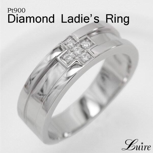 プラチナ レディースリング 幅広 クロス 平打ち ダイヤモンド リング 誕生日 記念日 Pt900 結婚指輪 ブライダルリング プレゼント ギフト 結婚記念 自分ご褒美