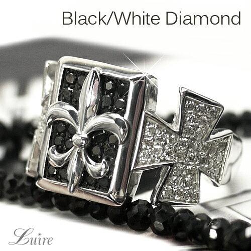 K18ゴールド 幅広 ブラックダイヤモンドリング クロス メンズリング K18ホワイトゴールド プレゼント 誕生日【送料無料】