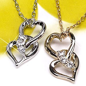 【送料無料】ハート スリーストーン ダイヤモンド オープンハート ネックレス ペンダント ギフト K18 ゴールド