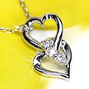 ハート スリーストーン ダイヤモンド オープンハート ダイヤモンド ネックレス ペンダント ギフトプラチナ900 【送料無料】