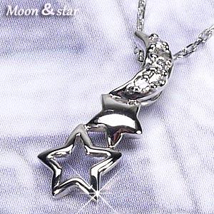 月 星☆ムーン スター スリーストーン ダイヤペンダント ネックレス ダイヤモンドジュエリー 誕生日 自分ご褒美 プラチナ900 【送料無料】