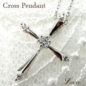 【送料無料】クロスペンダント ネックレス ダイヤモンド 十字架 K18ホワイトゴールド 誕生日 プレゼント