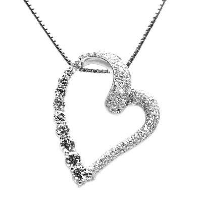 ハート パヴェ ダイヤモンド ペンダント ネックレス 1.5ct K18WG/K18YG/K18PG 誕生日 プレゼント【送料無料】