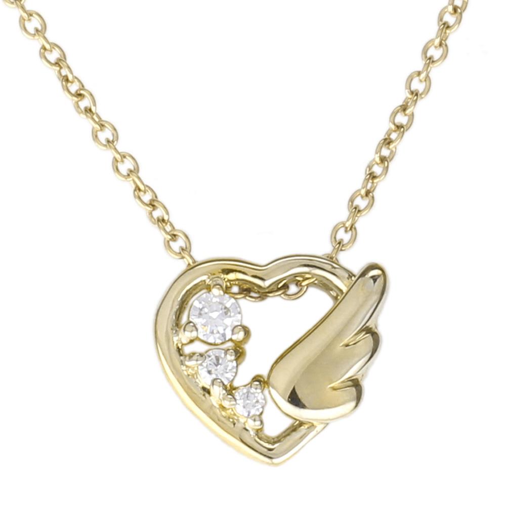 【送料無料】ハート 天使の羽 ダイヤモンド ペンダント ネックレス お守り 誕生日 プレゼント 【K10ゴールド】 【送料無料】
