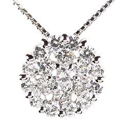18K K18ゴールド 【送料無料】ラウンド ダイヤモンド ペンダント K18WG ギフト 誕生日 プレゼント ゴールド 彼女